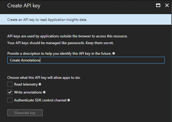 Create a new API key
