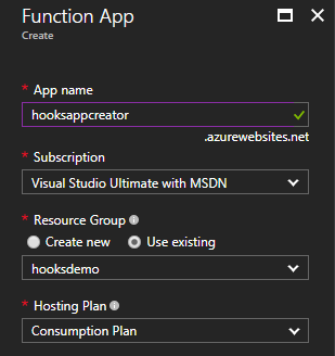Create a new Function App