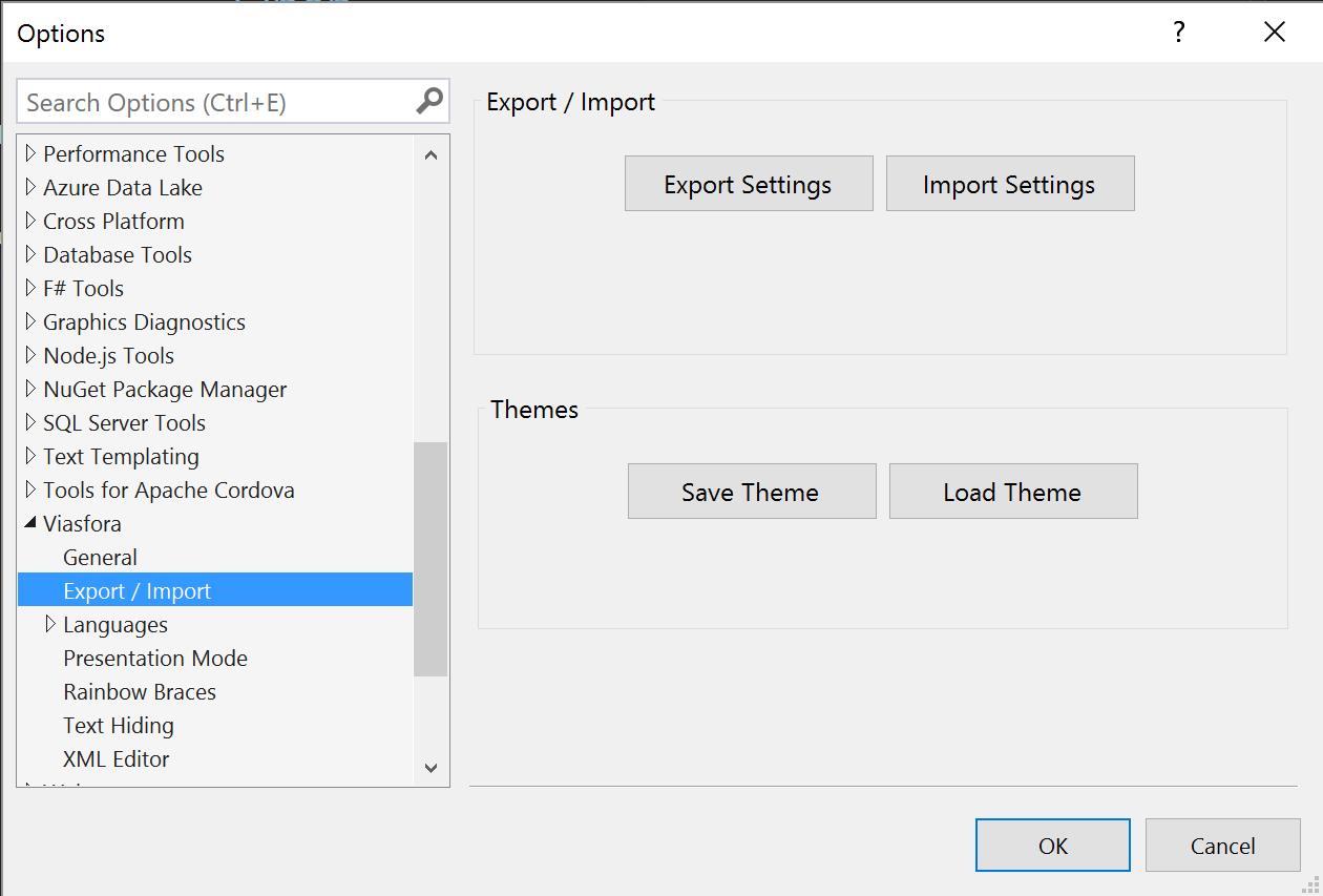 Import / Export settings