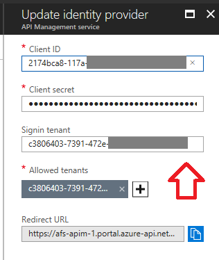 AAD identity provider configuration
